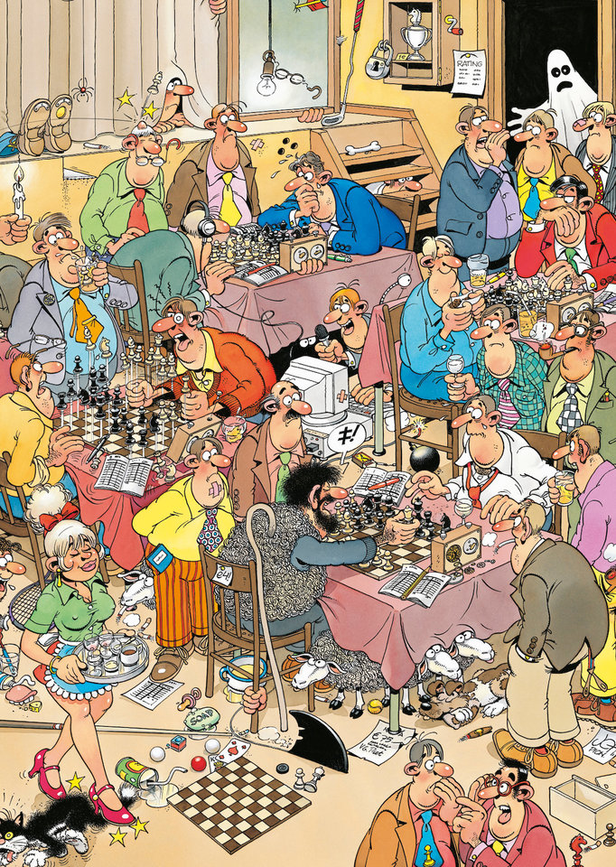 If you miss your chess club, too, take consolation from this cartoon by Jan van Haasteren. Like many of the Dutch cartoonist's works it has been made into a 500 piece jigsaw puzzle by [JVH-Puzzles][1]. Currently you can only get it [second hand][2].     [1]: https://www.jvh-puzzels.com/   [2]: https://www.marktplaats.nl/q/jan+van+haasteren++de+schaakclub/