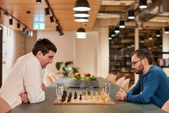 Vladimir Kramnik (left) teamed up with DeepMind, led by former chess prodigy Demis Hasabis, to let AlphaZero test variants like no-castling chess
