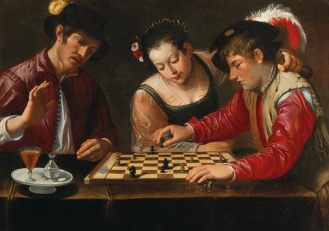 Chess scence by an unknown Italian master (1600)