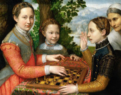 Three sisters at chess by Sofonisba Anguissola (1555)